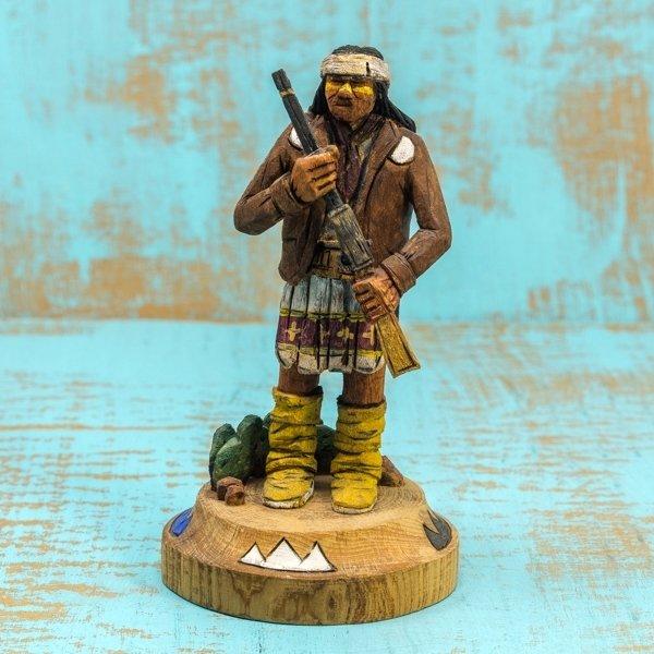 Delbert Upshaw Carving - Man with Rifle, Decorated Base GA180179
