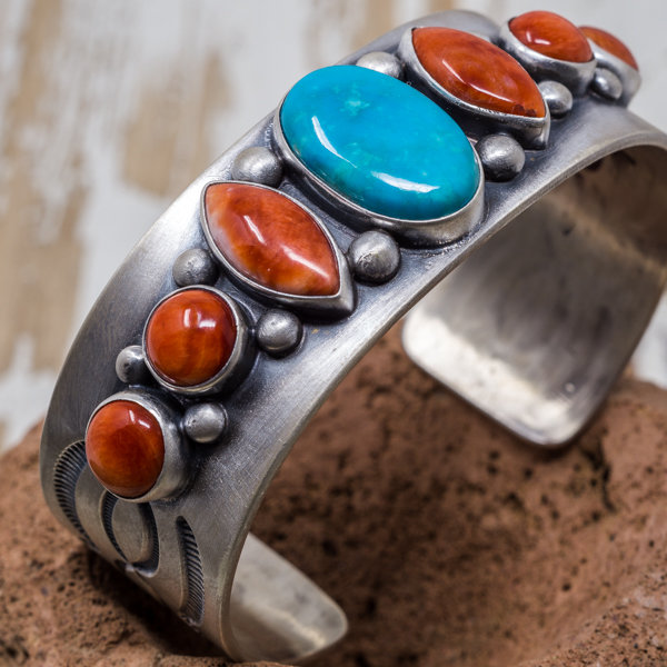 Campitos Turquoise & Spiny Oyster Bracelet by Elgin Tom JE180182