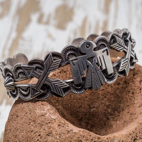 Sterling Silver Thunderbird Bracelet by Elgin Tom JE180191