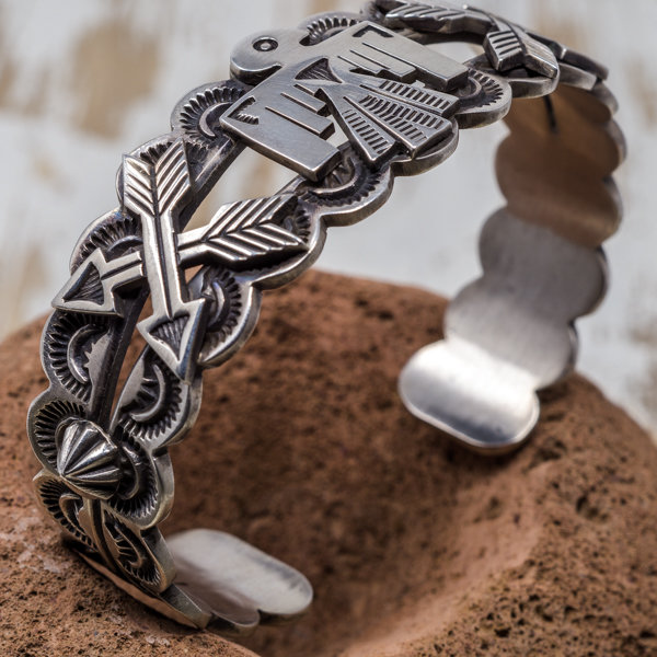 Sterling Silver Thunderbird Bracelet - Top Side View