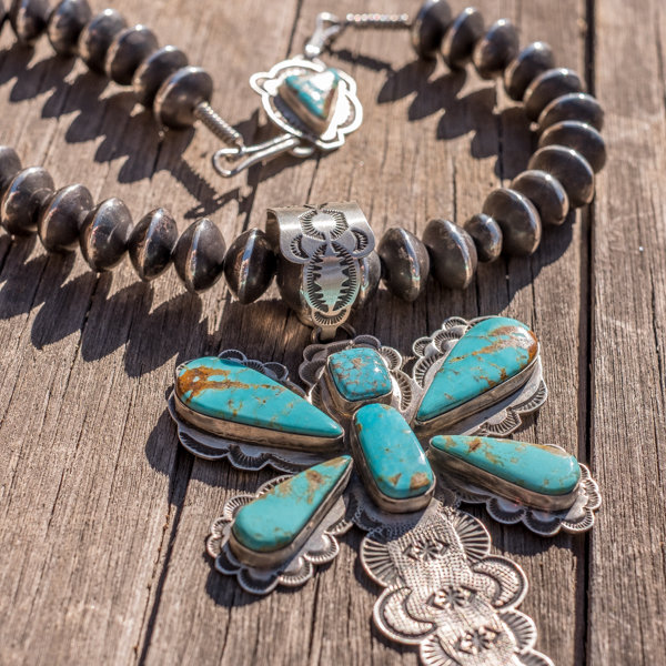 Kingman Turquoise & Navajo Pearl Necklace - Top Front View
