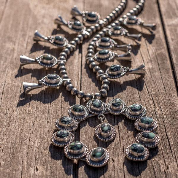 Lander Blue Turquoise Squash Blossom Necklace by Billy Slim JE180205