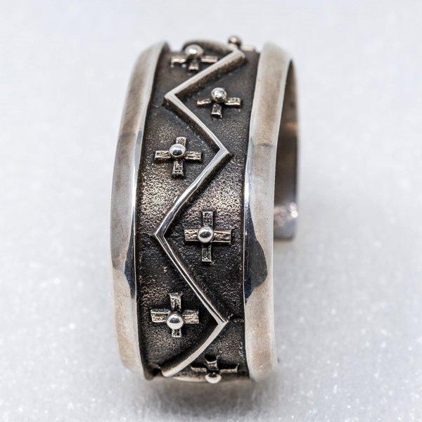 Sterling Silver Cross Cuff Bracelet by Aaron Anderson - Side View
