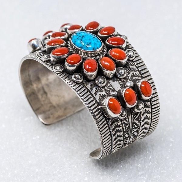 Kingman Turquoise & Coral Bracelet by Tillie Jon JE180213