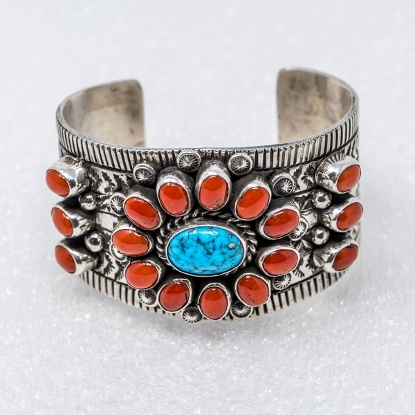 Kingman Turquoise & Coral Bracelet by Tillie Jon - Front View