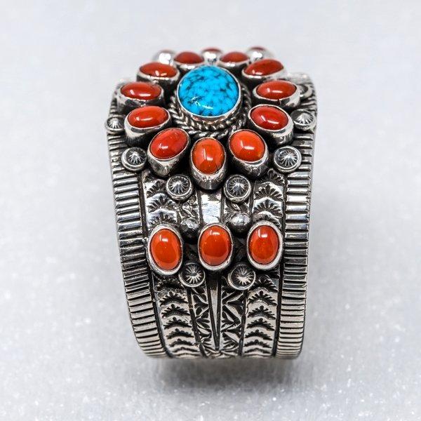 Kingman Turquoise & Coral Bracelet by Tillie Jon - Side View