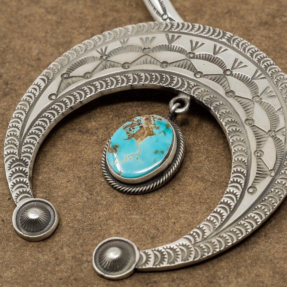 Kingman Turquoise Naja Pendant by Herman Smith - Side View