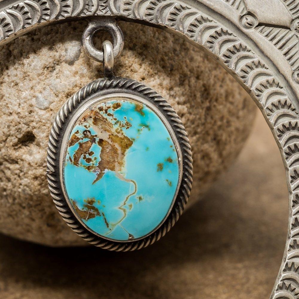 Kingman Turquoise Naja Pendant by Herman Smith - Close Up