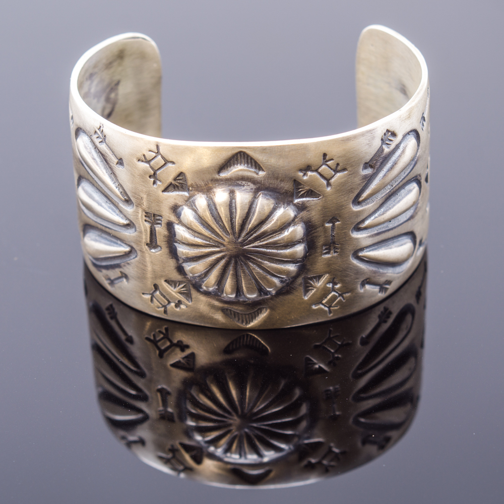 'Fred Harvey' Style Cuff Bracelet with Stamped Sterling Silver JE160134