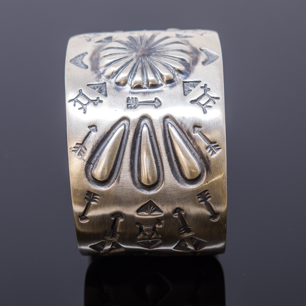 'Fred Harvey' Style Cuff Bracelet with Stamped Sterling Silver