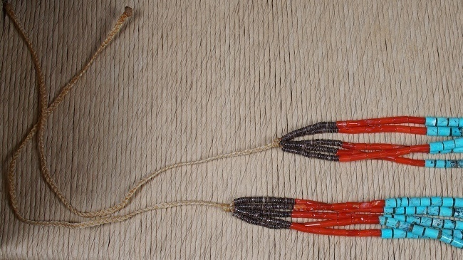 Image of the rope fasteners in the coral heishi necklace
