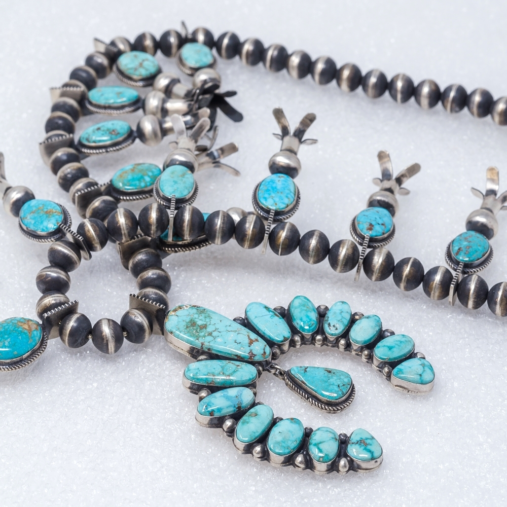 Turquoise Mountain Squash Blossom Necklace by Andy Cadman JE180226