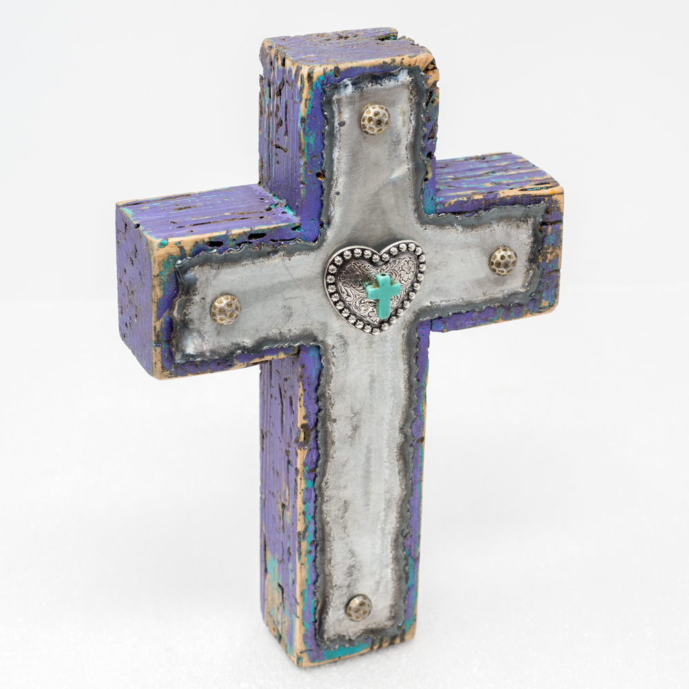 Purple Painted Wood Cross with Turquoise SO190008