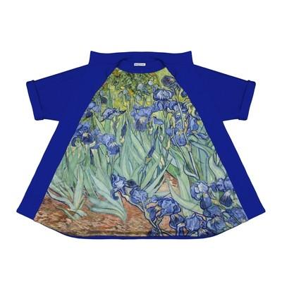Пальто из неопрена с ирисами Ван Гога на подкладке