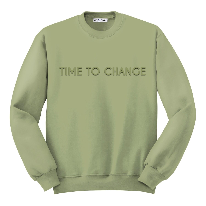 Свитшот с объёмной вышивкой TIME TO CHANGE