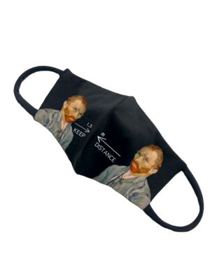 Черная маска с принтом KEEP DISTANCE с двумя Ван Гогами