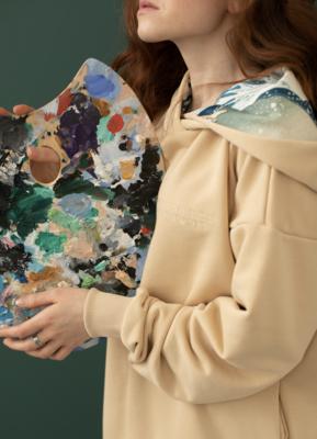 """Худи с картиной Хокусая """"Большая волна в Канагаве"""" (в капюшоне), Молочный, Жен, XS, без вышивки"""