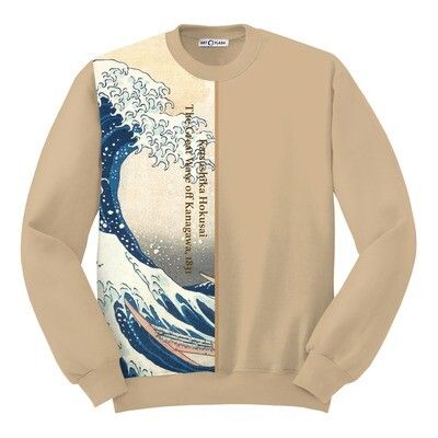 """Свитшот/худи с картиной Хокусая """"Большая волна в Канагаве"""" [полоска]"""