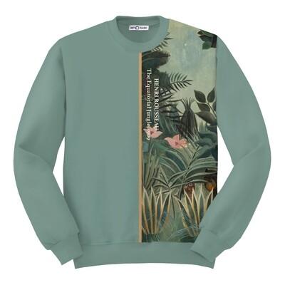 """Худи прямого кроя с картиной Анри Руссо """"Экваториальные джунгли"""" [полоска], Жен, Пыльный зеленый, S"""