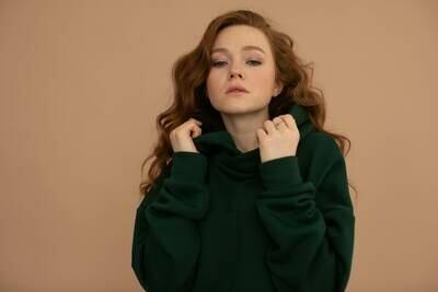 Женское оверсайз-худи с капюшоном и карманами, Глубокий зеленый, Жен, M