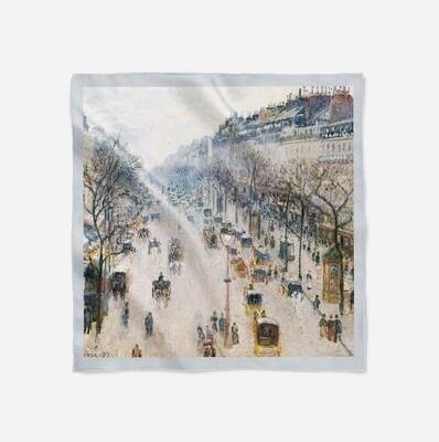 "Платок с картиной с картиной Камиля Писсарро ""Бульвар Монмартр зимним утром"""