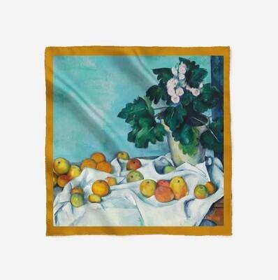 """Платок с картиной Поля Сезанна """"Натюрморт с яблоками и вазой первоцветов"""""""