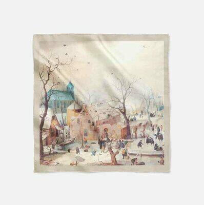 """Платок с картиной Аверкампа """"Зимний пейзаж с конькобежцами"""""""