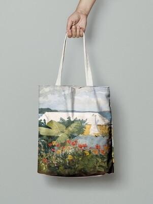 """Сумка-шоппер с картиной Уинслоу Хомера """"Flower Garden and Bungalow, Bermuda"""""""