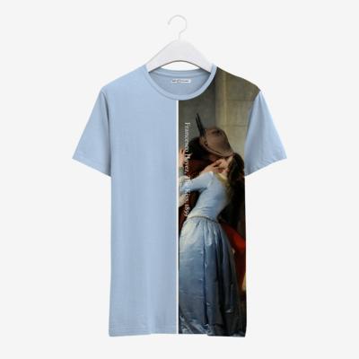 """Футболка с картиной Хайеса """"Поцелуй"""" [полоска], Светло-голубой, Муж, М"""