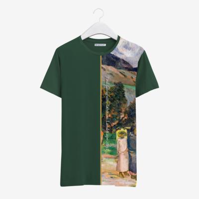 """Футболка с картиной Поля Гогена """"Таитянский пейзаж"""" [полоска], Темный зеленый, Муж, М"""