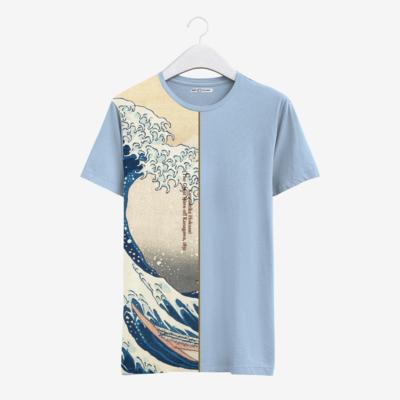"""Футболка с картиной Хокусая """"Большая волна в Канагаве"""" [полоска], Жен, Бледный голубой, M"""