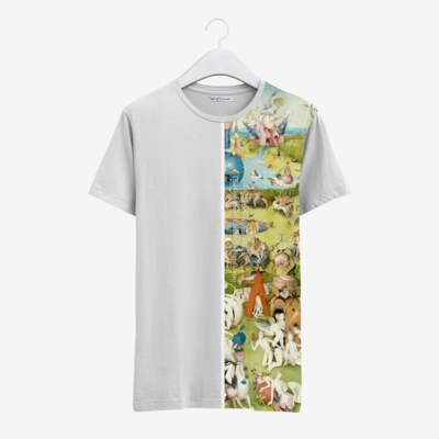 Футболка с картиной И. Босха «Сад земных наслаждений» [полоска], Белый, Муж, М