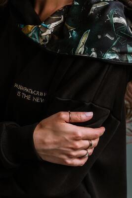 """Мужское оверсайз-худи с картиной И. Босха """"Сад земных наслаждений"""" (в капюшоне), L"""