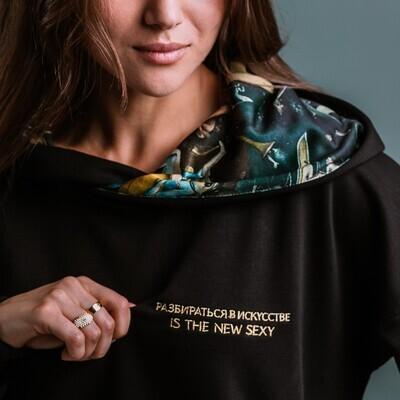 """Худи с картиной И. Босха """"Сад земных наслаждений"""" (в капюшоне), черный, жен, без вышивки, размер М"""