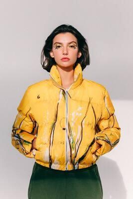 Куртка дутая с картиной [34+7-Y] - Yellow