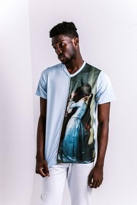 """Мужская футболка прямого кроя с картиной Хайеса """"Поцелуй"""" [полоска], М"""
