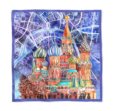 Платок MOSCOW CITY MAP & ST. Basil's Cathedral