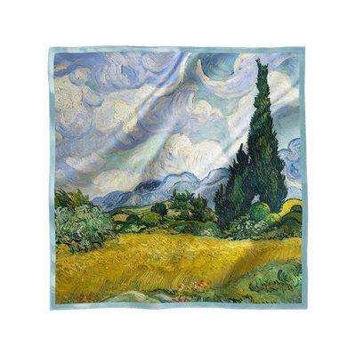 """Платок с картиной Ван Гога """"Кипарисы"""", 70х70см"""