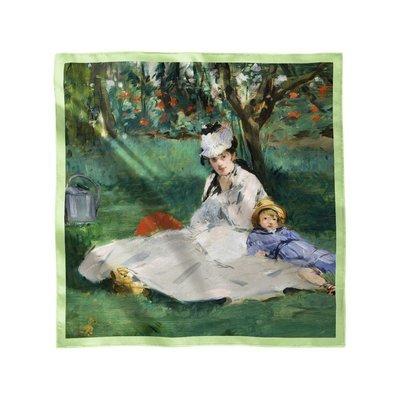 """Платок с картиной Эдуарда Мане """"Семья Моне в их саду в Аржантее"""""""