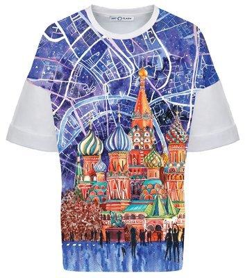Оверсайз-футболка MOSCOW CITY MAP & ST BASIL'S CATHEDRAL