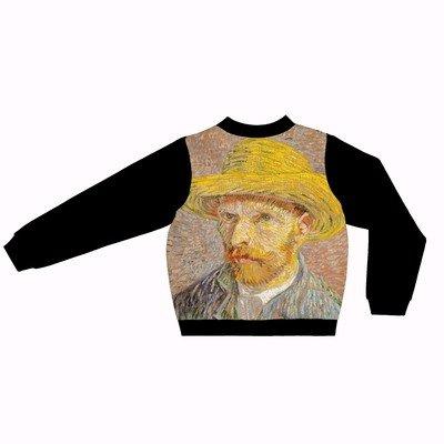 Оверсайз-бомбер с автопортретом Ван Гога в соломенной шляпе (модель унисекс)