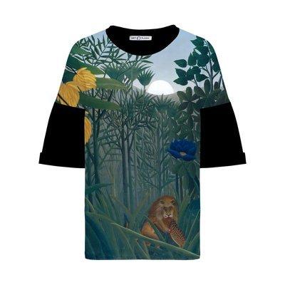 Оверсайз-футболка с картиной THE REPAST OF THE LION Анри Руссо