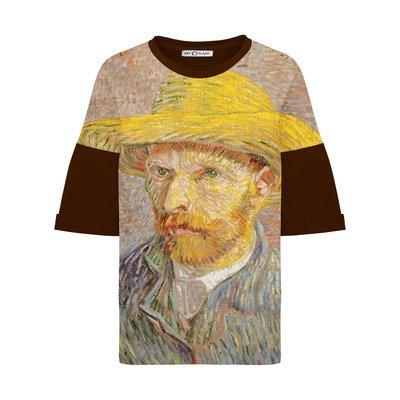 Оверсайз-футболка с автопортретом Ван Гога в соломенной шляпе