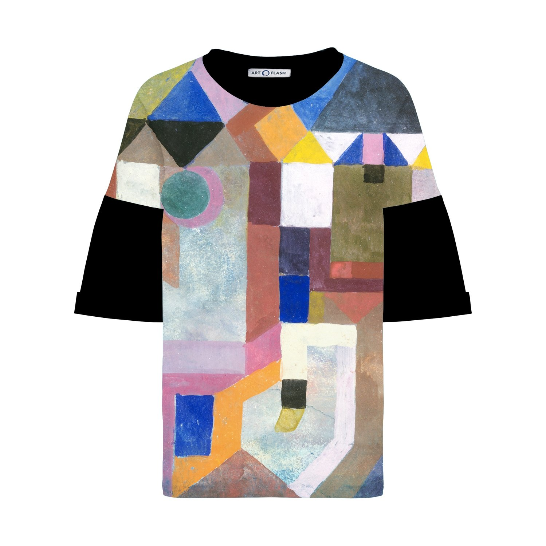 Оверсайз-футболка с картиной Пауля Клее COLORFUL ARCHITECTURE, Черный, Жен, S
