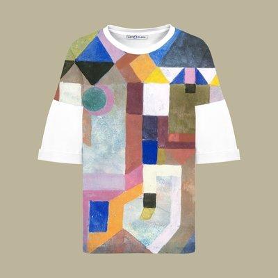 Оверсайз-футболка с картиной Пауля Клее COLORFUL ARCHITECTURE, Белый, Жен, M
