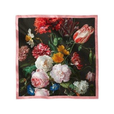"""Платок с картиной Яна Давидса де Хеме """"Цветочный букет в стеклянной вазе"""""""