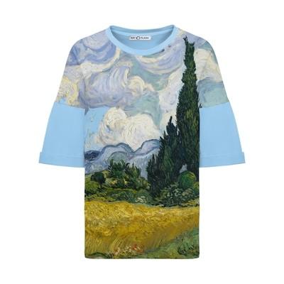 Оверсайз-футболка с Кипарисами Ван Гога
