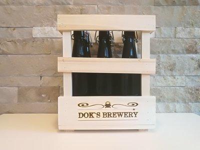 Doks O`Cara  6 x 0,5 Liter Flaschen mit Bügelverschluss in Holz - 6er Traeger