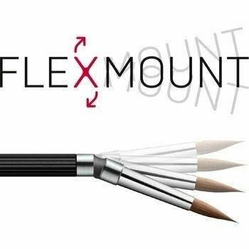Porcelain instrument set of 2 (Kolinsky brush #8R & zircon spatula), on FlexibleConnector - Aluminum handle