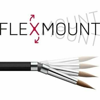 Porcelain instrument set of 2 (Kolinsky brush #8R & zircon spatula), on FlexibleConnector - Carbon fiber handle